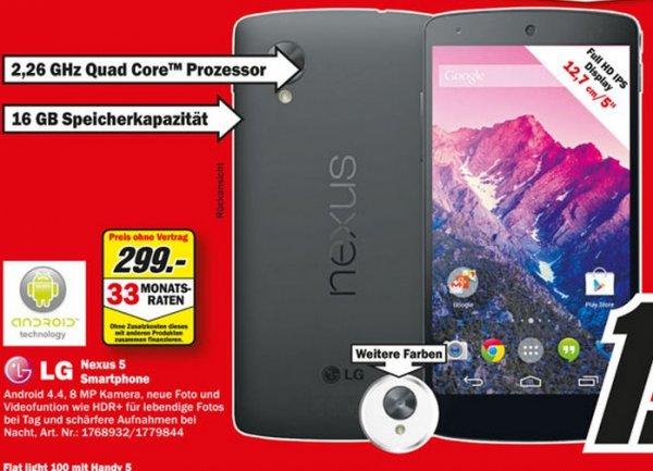 LG Nexus 5 16GB für 299€ Lokal [Mediamarkt Essen Mülheim Wuppertal Düsseldorf Duisburg Dortmund Velbert Castroprauxel Bochum Dorsten Recklinghausen]