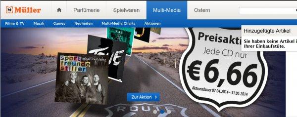 Müller Markt Online/lokal - Jede CD nur 6,66€ - Lieferung in Wunsch-Filiale kostenlos