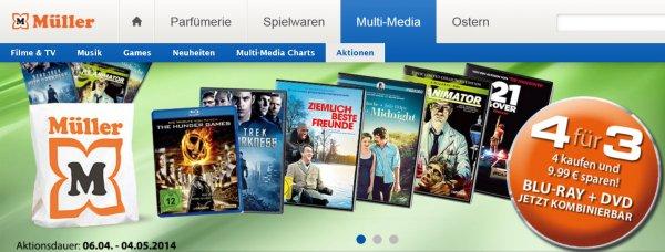 Müller Markt Online/lokal - Vier DVDs bzw BluRays für Preis von dreien 29,97€ - Lieferung in Wunsch-Filiale kostenlos