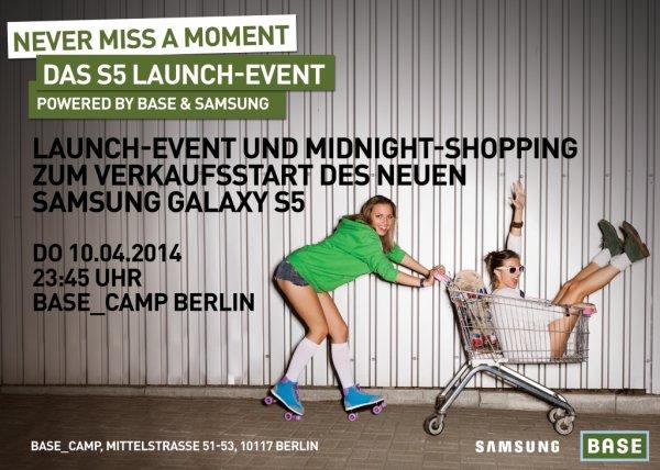 Samsung Galaxy S5 + GamePad für 599€ - Midnight Shopping - BASE Camp (Berlin)