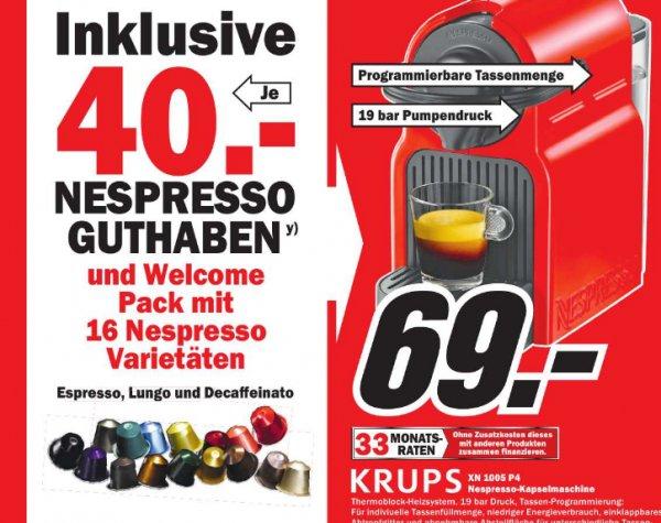 Krups Nespresso Inissia XN1005 rot  im Media-Markt