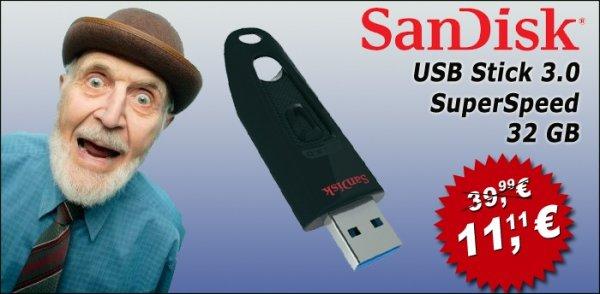 SanDisc USB 3.0 32GB für 11,11€ Mindestbestellwert 20€ + VSK 3,50€