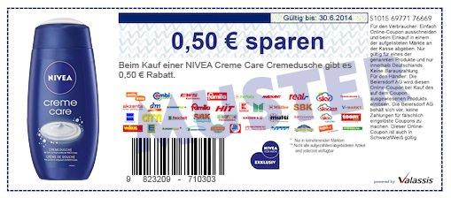 Nivea Creme Care  Dusch Creme 0,79 € bei Rossmann