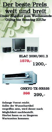 ONKYO TX-NR 535 für 278,- (statt 388,90€), ELAC 2030/301.2 für 1200,- (statt 1569,90€), Canton DM 900 für 650,07€ (statt  795€) und mehr