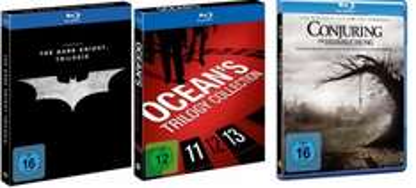 alphamovies [Blu-rays]  Batman The Dark Knight Trilogy 16,90€ (+2,99€ VK), Ocean's Trilogie 15,99€  (+2,99€ VK), Conjuring 9,49€ (+2,99€ VK).