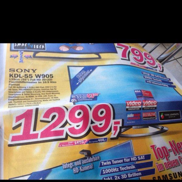 Sony KDL-55 W905 für 1299€ bei Telepoint, lokal?!