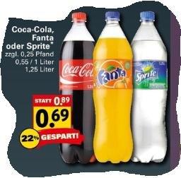 [Netto mit Hund] Coca Cola, Fanta oder Sprite 1,25l für 0,69€ NUR am Donnerstag 17,04 (1L = 0,55€)