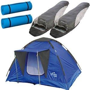 2 Personen Set 1xZelt, 2xSchlafsack, 2xIsomatte Camping Kuppelzelt Iglu Domezelt