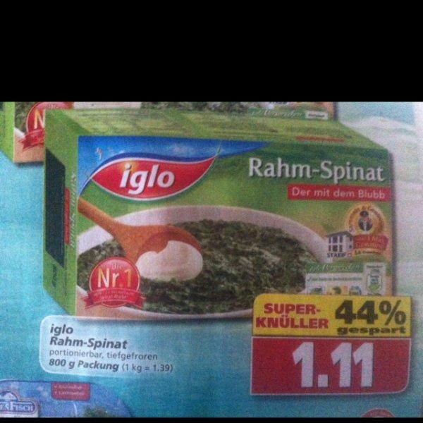 Diska: 800g iglo Rahmspinat 1,11€