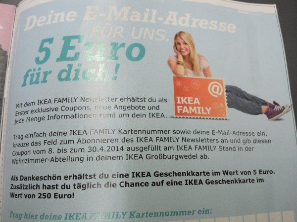 [Lokal: Großburgwedel bei Hannover - nur offline] IKEA: 5 € Geschenkkarte bei Anmeldung zum Email-Newsletter