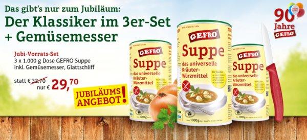 3x 1000g Dose GEFRO Suppe & Universalgewürz + Gemüsemesser