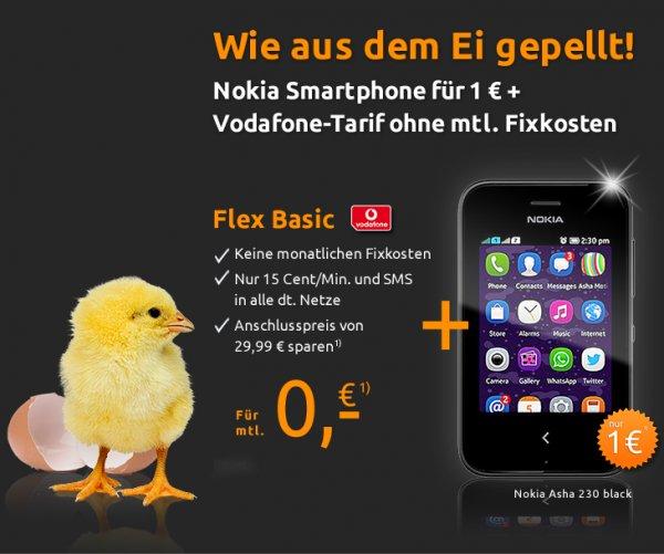 Nokia Asha 230 durch M-D Vodafone Flex Basic-Vertrag effektiv 1,15€