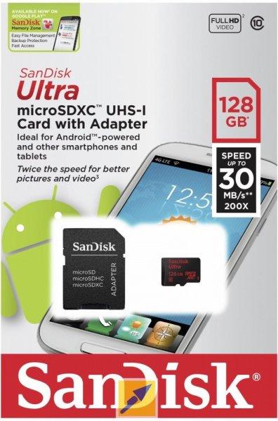 SanDisk Ultra 128 GB microSDXC UHS-I Retail inkl. Adapter @ Mindfactory