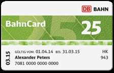 Bahncard für Studenten/Schüler/Rentner - 50 % günstiger! 25er 2. Klasse für 20 Euro / 50er 2. Klasse für 60 Euro BIS JUNI