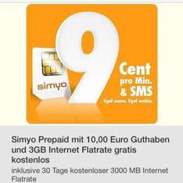 Simyo prepaid 10€ guthaben + 3GB Internetflat
