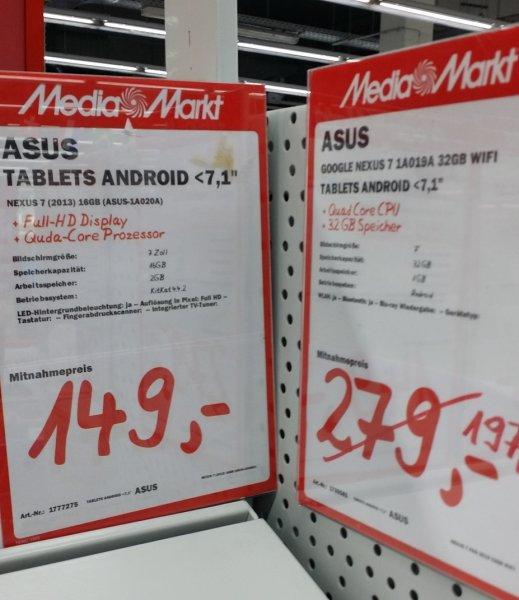 Asus Nexus 7 2013 16GB für 149€ 32GB für 197€,LG G Pad 8.3 für 197€ Lokal offline [Mediamarkt Neuss]