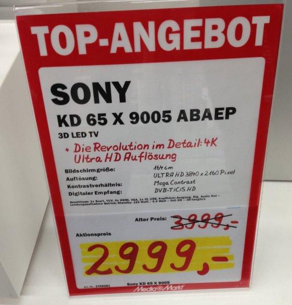 "[Lokal Köln] Sony KD 65 X 9005 UHD-Fernseher 65"""