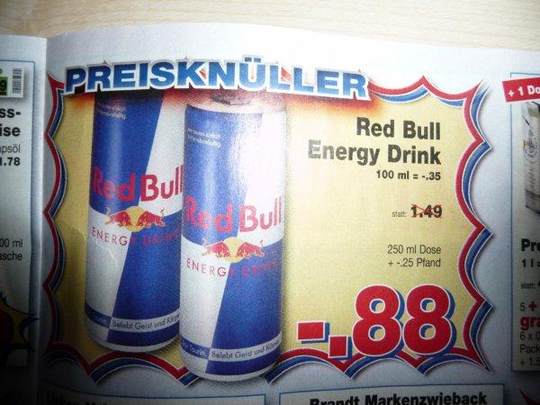 REWE/Akzenta/Kaufpark : Redbull  0,25 Liter mal wieder für die üblichen 88 Cent