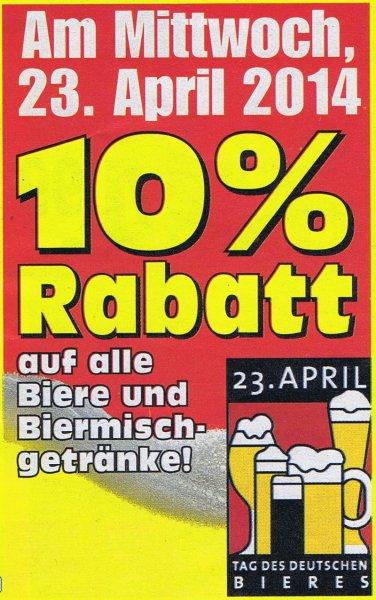 """10% auf alle Biersorten in allen EDEKA Fillialen am """"Tag des Bieres"""" (23.04.2014)"""