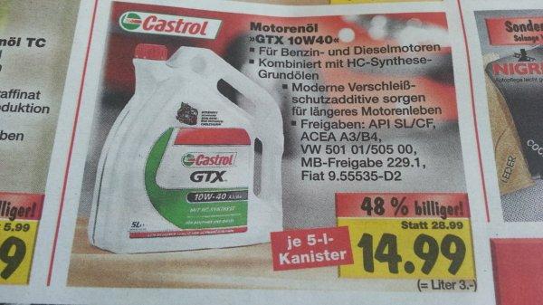 [Kaufland Worms] Castrol 5L Motoröl GTX 10w-40 für 14,99 €
