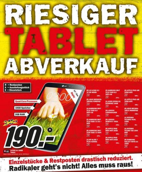 Tablet Abverkauf LG G-Pad 8.3 16GB für 190€ Lokal Mediamarkt Karlsruhe,Paderborn