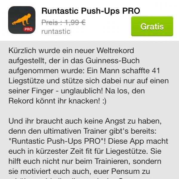 [Runtastic] PushUps Pro (iOS) kostenlos