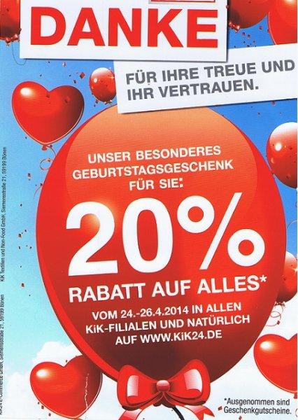 20% Rabatt bei KiK und KiK24.de