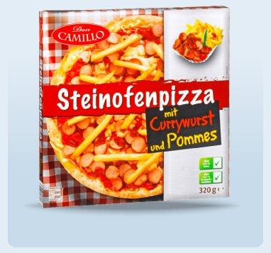 DON CAMILLO Pizza mit Currywurst und Pommes  ab 22.4 im Penny