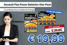 nur 19,90 € für 40er-Pack Duracell Plus Power Batterien