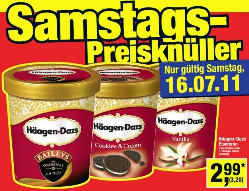 Häagen Dasz Eiscreme - 3,20 € (brutto) - METRO (gewerbl. Kunden) - nur SA 16.07.