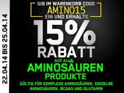 15 % Rabatt auf alle Aminosäuren[Andro] * bis 25.04.2014 gültig