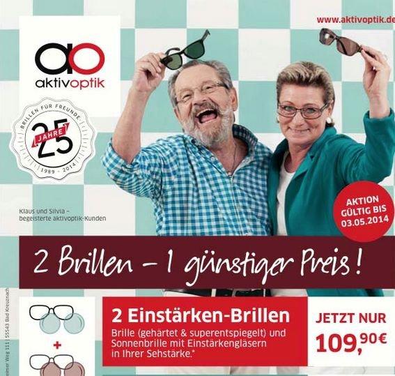 Aktiv Optik - 2 Einstärken-Brillen für 109,90 (Brille+Sonnenbrille)