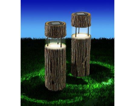 Solarleuchten Baumstämme 2er-Set für 13,99 €