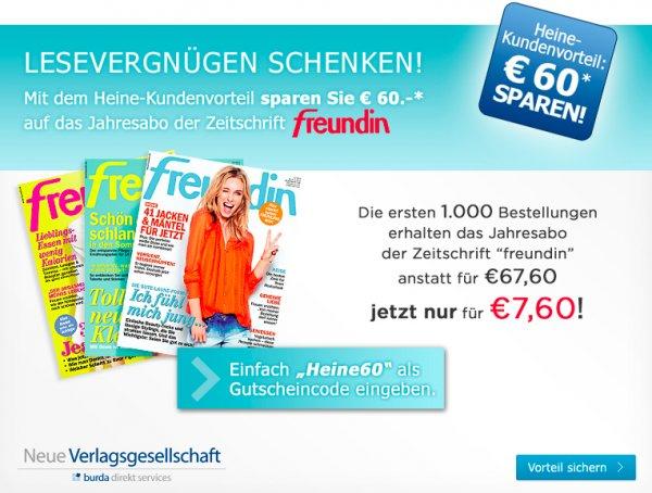 """""""Freundin"""" für 7,60€ durch 60€ Direktrabatt"""