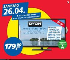 "[REAL BUNDESWEIT] DYON C32D+ 32"" LED-TV integr. DVD-Player (PAYBACK-DEAL) 38% günstiger als bei Idealo"