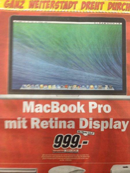 """[LOKAL MM Weiterstadt] Macbook Pro Retina 13"""" ME864 für 999€"""