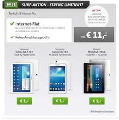BASE SURF AKTION bei Sparhandy - BASE Internet Flat + Samsung Galaxy Tab 3 10.1 16GB 3G P5200 für 265 €