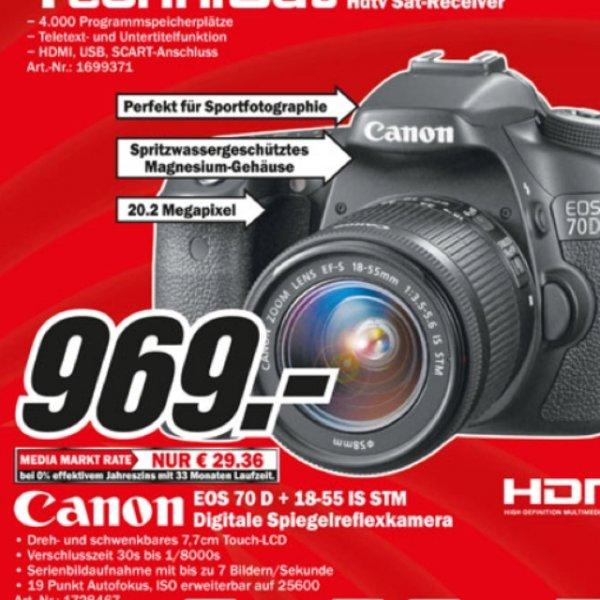 Lokal Media Markt weiterstadt - Canon eos 70d inclusive. 18-55 is DTM für 969€