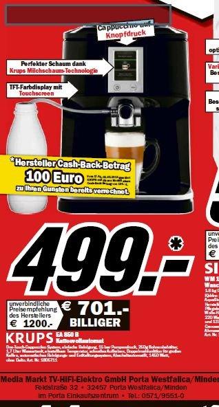Krups EA 850 Espresso-Vollautomat 499 € Idealo 849 €