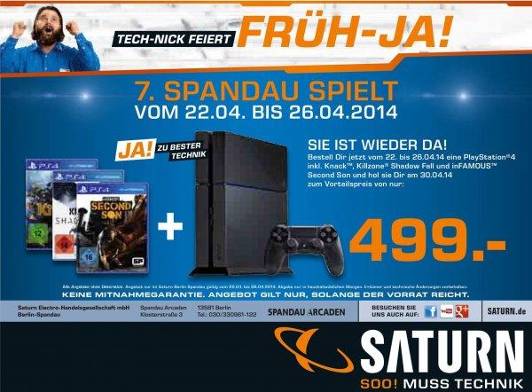 [Lokal Saturn Berlin Spandau] Playstation 4 mit 3 Spielen für 499 EUR