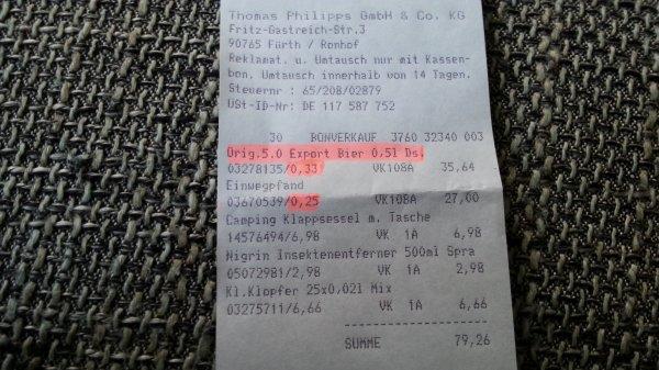 Dose 5,0 Export bei Thomas Philipps für 0,33€+ Pfand