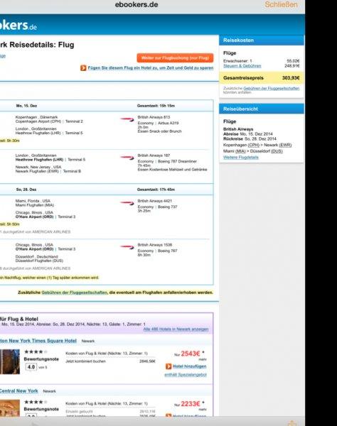 NYC und Miami über Weihnachten für 304€ als Gabelflug
