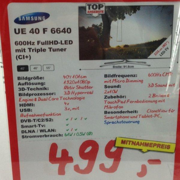 [Mediamarkt Dortmund] Samsung UE40F6640 499€