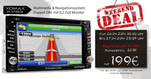 Doppel DIN Autoradio von XOMAX mit Navigation & USB für 199 + 3,90 = 202,90€