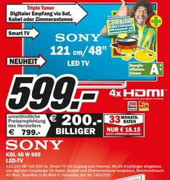 Sony KDL-48W605 für 599€ Lokal [Mediamarkt Mönchengladbach]