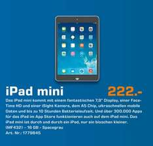 [Lokal Bremen] Apple iPad mini 16GB WiFi schwarz