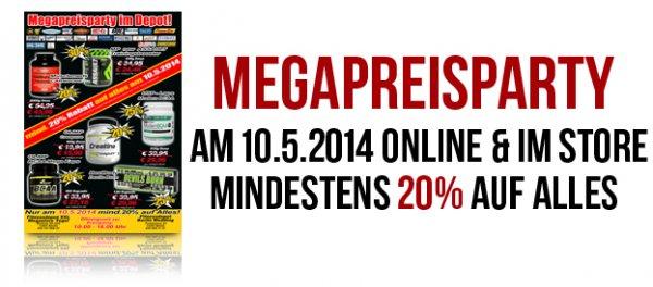 Mega Preisparty im Fitnessdepot Berlin 10.05. ONLINE + STORE mind. 20% auf alles!!!