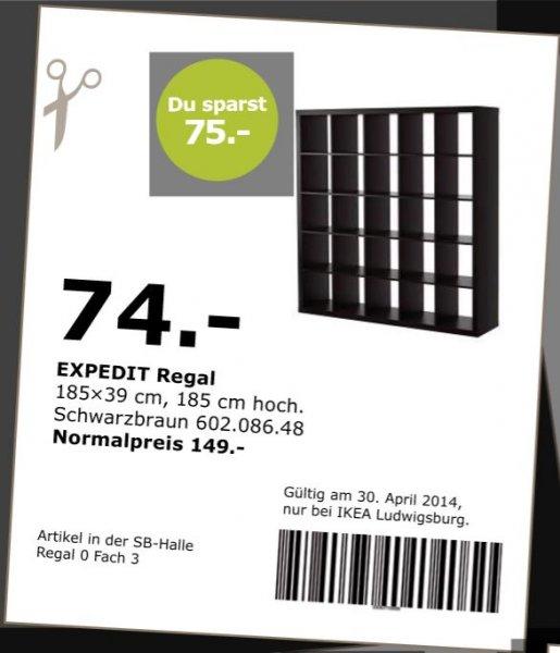 [IKEA Ludwigsburg] EXPEDIT Regal 5 x 5 schwarz  74,- statt 149,- (Onlinecoupon! Nur am 30.04.14)