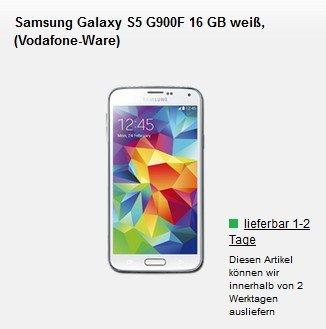 Samsung Galaxy S5 G900F für 1€ mit o2 Blue all-in L Allnet Vertrag inkl 3 GB LTE 50 Mbits Internet