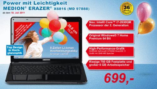 [Notebook] Medion Erazer X6816 am 18.07. bei Aldi Nord für 699€